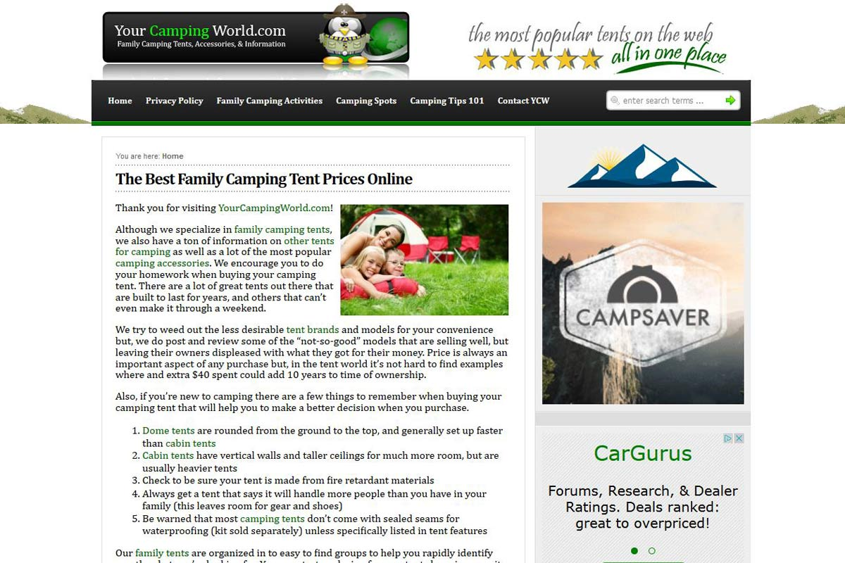 YourCampingWorld.com | eCommerce Web Designs